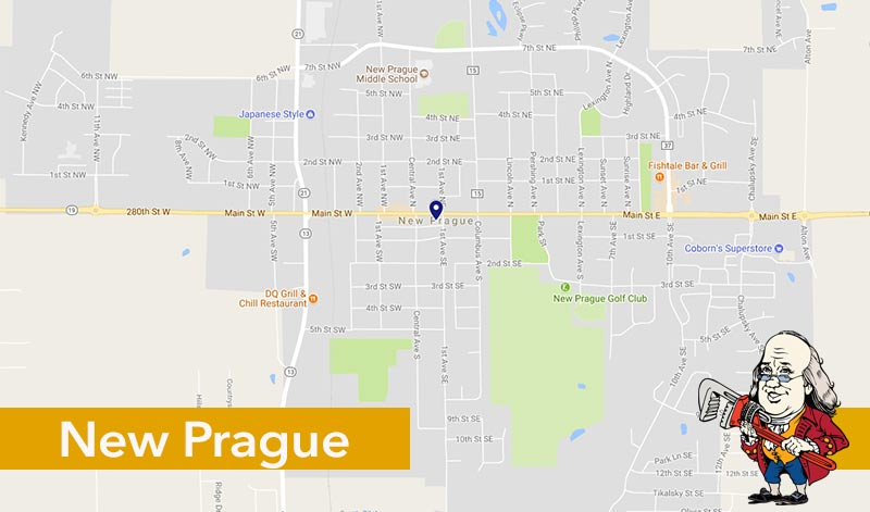 New Prague Plumber & Drain Cleaning - Benjamin Franklin Plumbing on map of thief river falls mn, map of parkers prairie mn, map of excelsior mn, map of ogilvie mn, map of forest lake mn, map of east grand forks mn, map of albertville mn, map of grasston mn, map of nicollet mn, map of eagan mn, map of becker mn, map of white bear lake mn, map of deephaven mn, map of truman mn, map of erskine mn, map of fairfax mn, map of lakeville mn, map of sauk centre mn, map of lake city mn, map of inver grove heights mn,